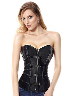 Leather And Satin Buckle Corset