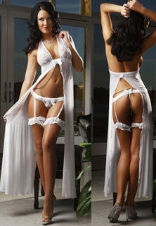 Long Sheer Gown White