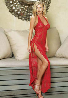 Long Lace Gown Red