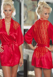 Satin And Lace Robe Red