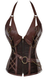 Steampunk Halter  Brown Corset