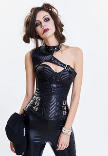 Steampunk One Shoulder Corset