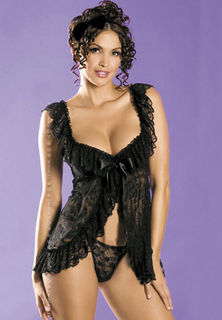 Floral Lace Black Baby Doll
