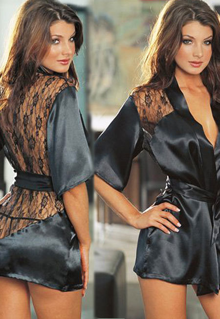 Satin And Lace Robe Black