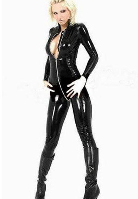 Vinyl Cat Suit Zip