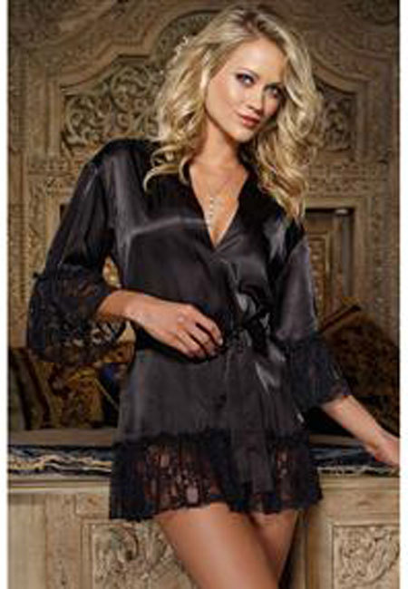 Satin And Lace Frilled Robe