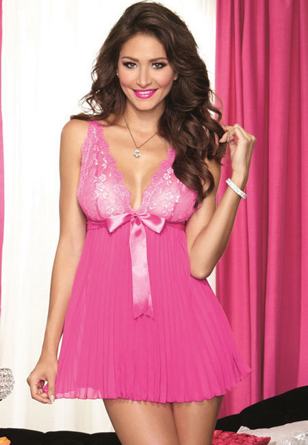 Pink Pleated Baby Doll