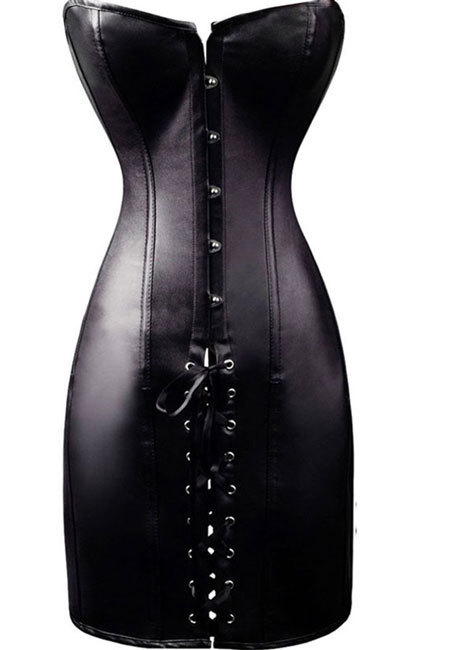 Leather Look Corset Dress
