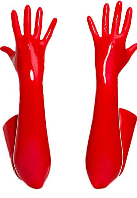 PVC Long Gloves Red