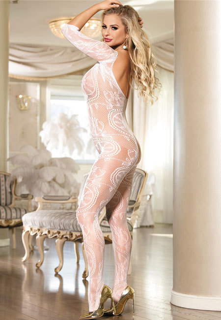Long Sleeved Bridal Body Stocking