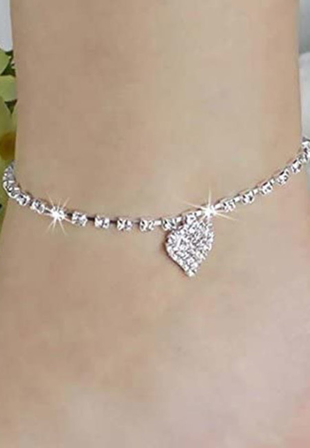 Diamanté Heart Anklet